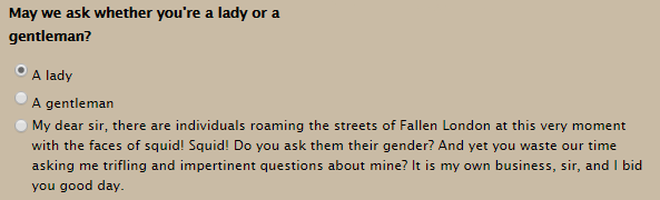Gender selection screen in Fallen London